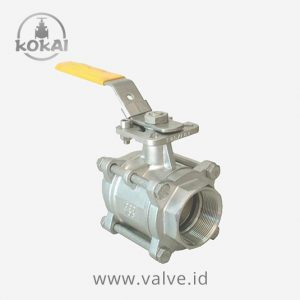 Ball Valve 1000WOG, Stainless Steel, 3-PC Body, Screwed End BSPT With Mounting Pad